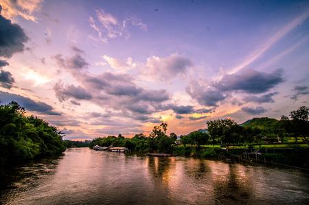 rivulet: The Bridge of the River Kwai in kanchanaburi Stock Photo