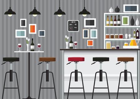 bar interior: Modern Flat Design Kitchen Bar Interior Vector Illustration