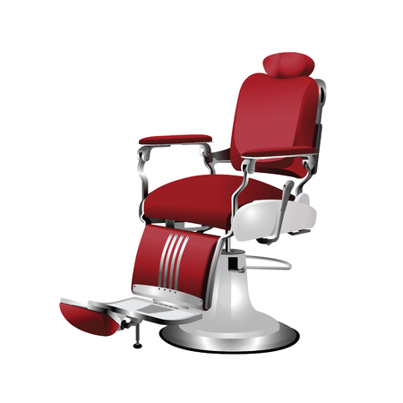 Vector red  barber chair on a white background Illustration