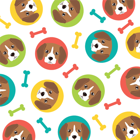beagle: beagle puppy pattern,vector full color
