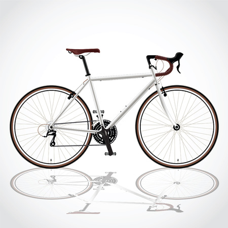fixed: race road bike isolated bicycle on white, fixed gear Illustration