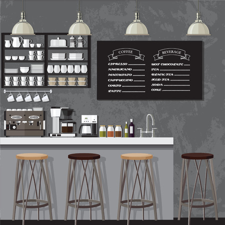 eatery: A vector illustration of interior of a modern coffee shop