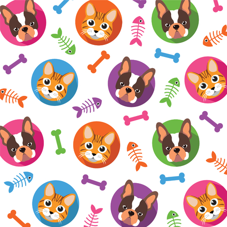 illustration of black fishbone: Cute Cat and Dog vector pattern, illustrations on colored background.