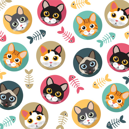Cute Cats and fishbone vector pattern, illustrations on colored background.