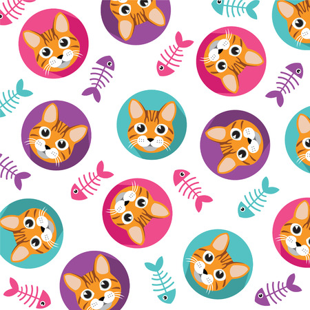 illustration of black fishbone: Cute Cat and fishbone vector pattern, illustrations on colored background.