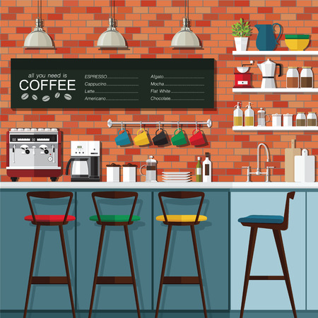 cafe shop: A vector illustration of interior of a modern coffee shop