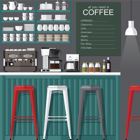modern interior: A vector illustration of interior of a modern coffee shop