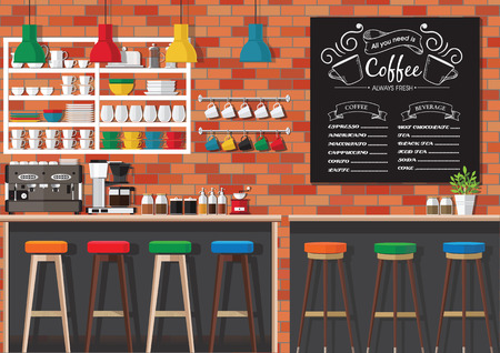 shop interior: Modern Flat Design Coffee shop Interior Vector Illustration