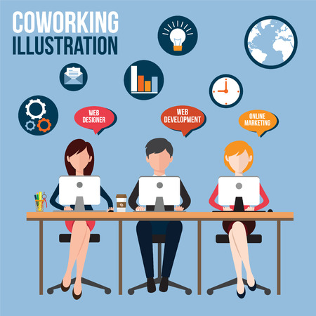 office space: Concept of the coworking center. Business meeting. Shared working environment. People talking and working at the computers in the open space office. Flat design style.
