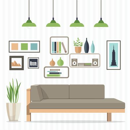 cor: Flat design vector illustration of modern home interior with sofa