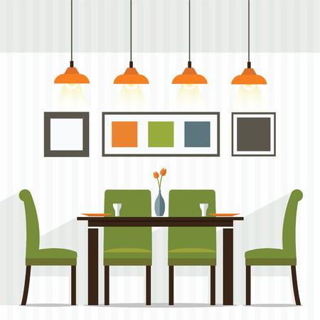 Conception Flat Inter Salle à manger Illustration Vecteur