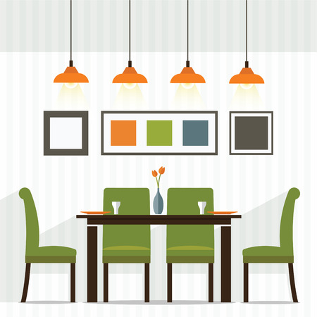 dining table and chairs: Flat Design Interior Dining Room Vector Illustration