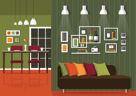 dining room: Interior of a living room and dining room Modern flat design illustration