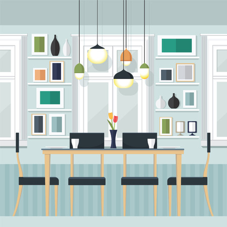 lifestyle dining: Flat Design Interior Dining Room Vector Illustration