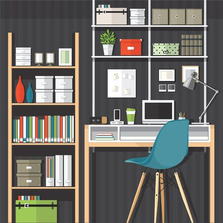 home office interior: Flat design vector illustration of modern home office interior and laptop
