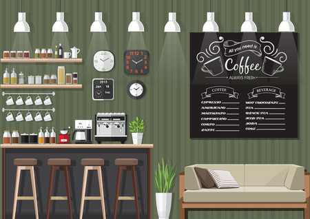 wooden chair: Modern Flat Design Coffee shop Interior Vector Illustration