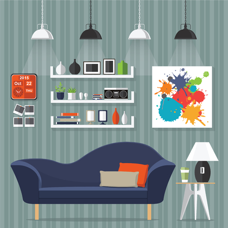 Interior living room with sofa, clock, shelf with books and a Flat style vector illustration. Векторная Иллюстрация