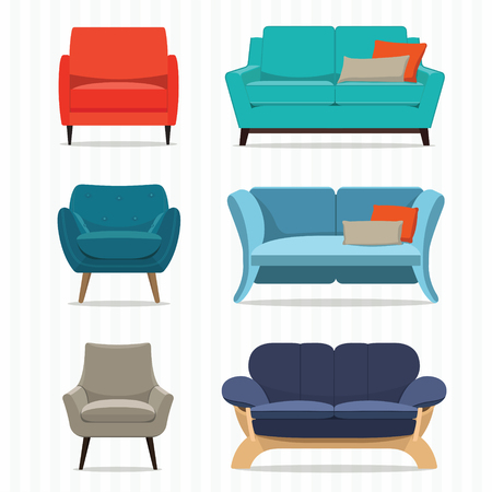couch: Living room furniture design concept set with modern home interior elements isolated vector illustration Illustration