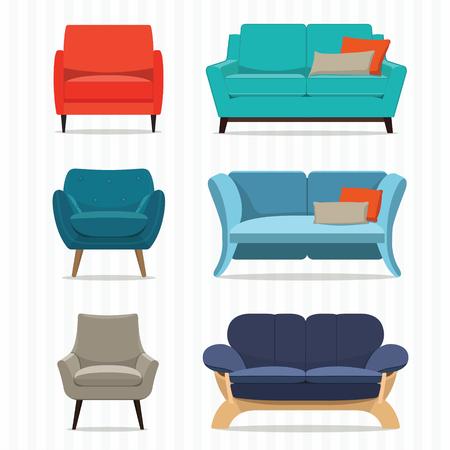 Living room furniture design concept set with modern home interior elements isolated vector illustration Illustration