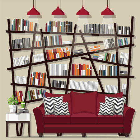 living room furniture: Living room with furniture flat style vector illustration. Illustration