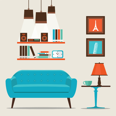Living room with furniture flat style vector illustration. Çizim