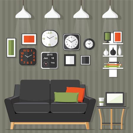cor: Interior of a living room. Modern flat design illustration.