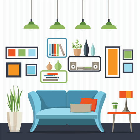 Sofa with small table, home interior. Flat style vector illustration.