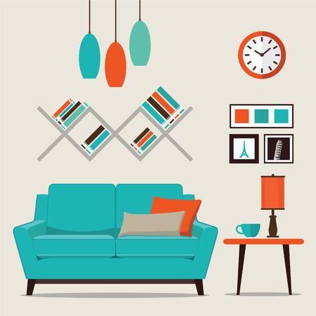 Soggiorno con illustrazione vettoriale stile piatto mobili.
