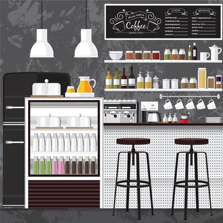 Een vector illustratie van inter van een moderne koffieshop