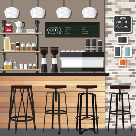 french fancy: illustration of interior of a modern coffee shop