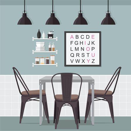 dining room: Flat Design Interior Dining Room Illustration