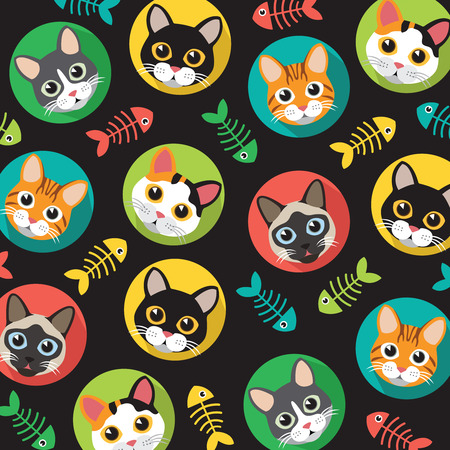 Cute Cats and fish bone pattern, illustrations on colored background.