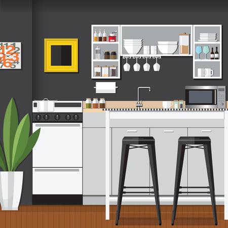 bar interior: Modern Flat Design Kitchen Bar Interior Illustration
