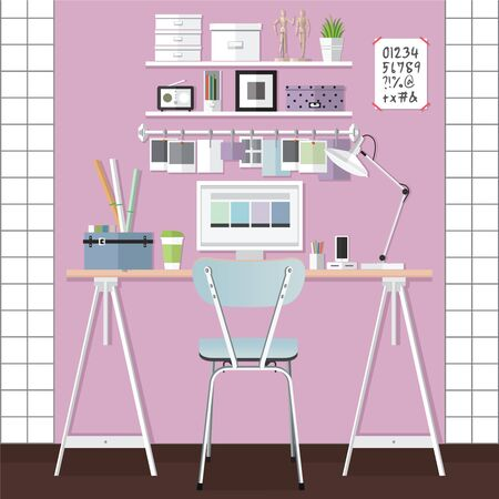 home office interior: Flat design illustration of modern home office interior and laptop Illustration