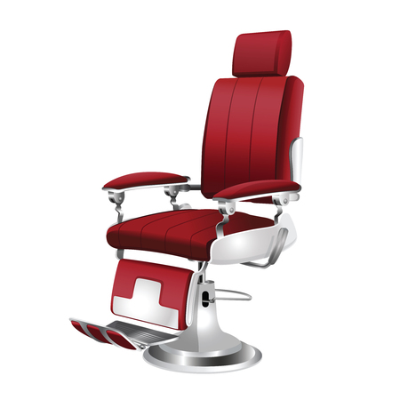 red  barber chair on a white background