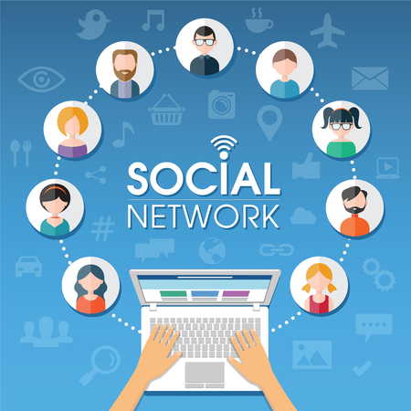 Social Network background of the icons