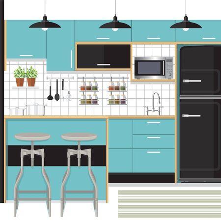 bar counter: flat kitchen interior with bar counter