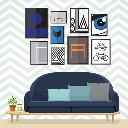 living room furniture: Living room with furniture flat style illustration. Illustration