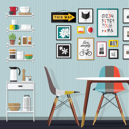 comedor con juego de muebles. Interior de la sala acogedora con mesa, armario y platos. ilustración vectorial de estilo plano.