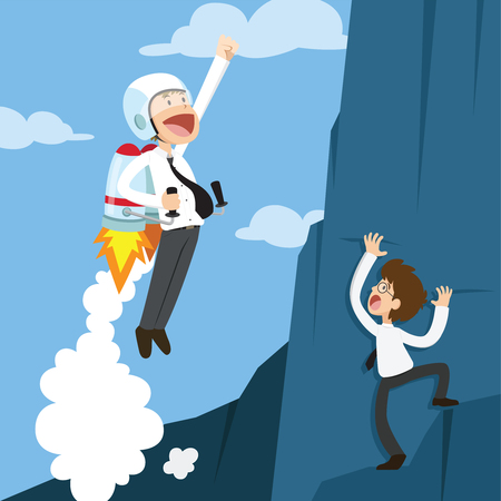 accelerating: Successful businessman flying by rocket. Business concept. Vector