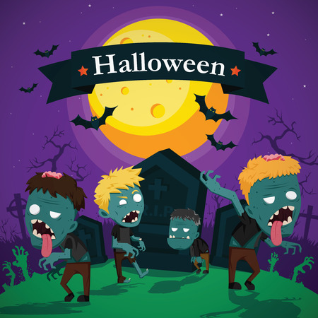 haunting: Halloween vector illustration - Dead Mans from the ground with invitation to zombie party Illustration