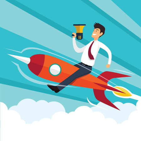 technology symbols metaphors: Successful businessman flying by rocket. Business concept. Vector