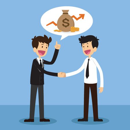negotiating: Two businessmen, shaking hands happy standing negotiating