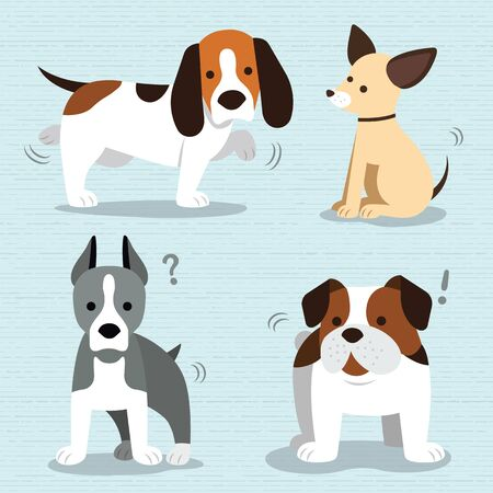 beagle puppy: Vector set of funny cartoon dogs - illustration in flat style