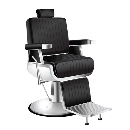 comb: Vector vintage barber chair on a white background.