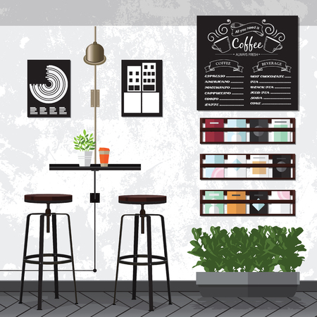 A vector illustration of interior of a modern coffee shop