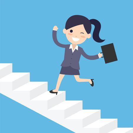 비즈니스 여자 계단을 통해 실행합니다. 컨베이어 벡터 개념