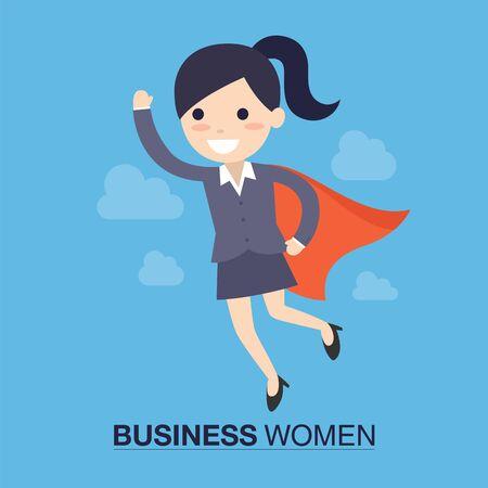 politicians: Super Business Woman Concept in Cartoon Illustration.