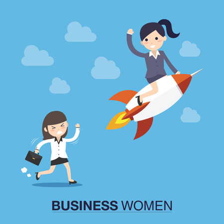 Successful businesswoman on a rocket flying high in the sky above the clouds. Flat style vector illustration. Illustration