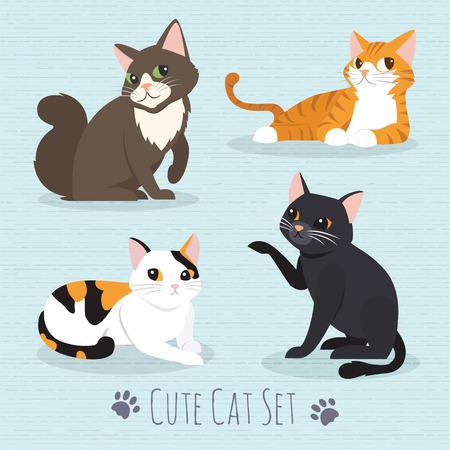 Cat Set, with white cat, grey cat, orange cat, brown cat Cute cats flat icons. Vector Illustration Cartoon Illustration